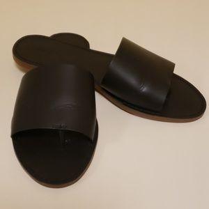 Madewell boardwalk slide black leather sandals